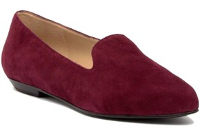 Eileen Fisher Soft Suede Elegant Toe One Inch Heel Padded For Comfort Nappa Lining Cranberry Flats