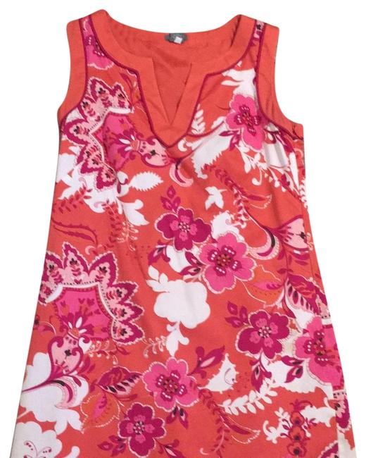 Item - Orange Chartreuse White Floral At The Navy V-neck Mid-length Work/Office Dress Size 2 (XS)