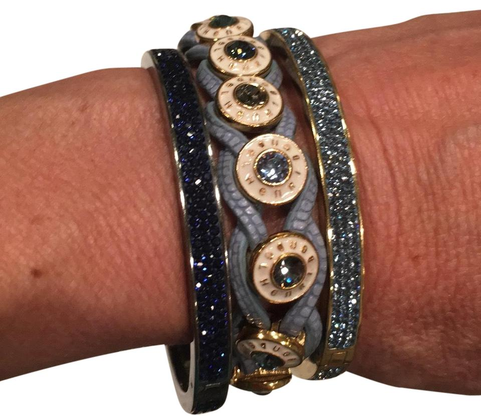 Henri Bendel Blues And Golds With White Accents On The Wrap Leather