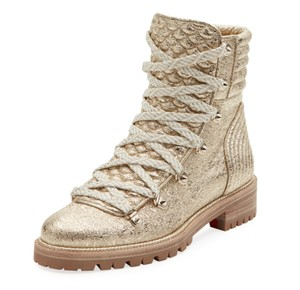 Christian Louboutin Ankle Mad Crinkled Combat gold Boots