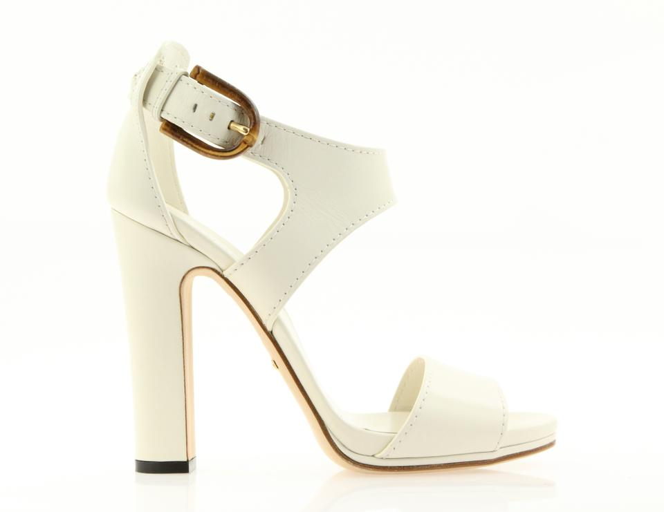 9252392fae7 Gucci White Lifford Bamboo Open Toe Sandals Size EU 37.5 (Approx. US ...