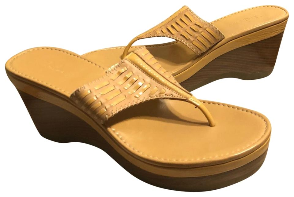 "49734d150f32 Cole Haan Tan Mustard Nike Air Tan Mustard Leather 3.5"" Heel Thong Sandals  Wedges. Size  US 8 Regular ..."
