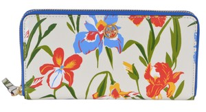 Tory Burch NEW Tory Burch Printed Iris Floral Leather Robinson Zip Around Wallet