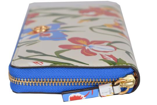 Tory Burch NEW Tory Burch Printed Iris Floral Leather Robinson Zip Around Wallet Image 1