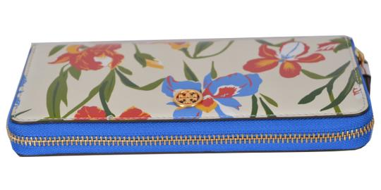 Tory Burch NEW Tory Burch Printed Iris Floral Leather Robinson Zip Around Wallet Image 2