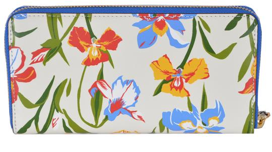 Tory Burch NEW Tory Burch Printed Iris Floral Leather Robinson Zip Around Wallet Image 4