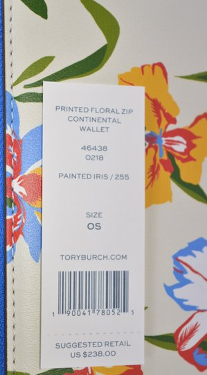Tory Burch NEW Tory Burch Printed Iris Floral Leather Robinson Zip Around Wallet Image 5