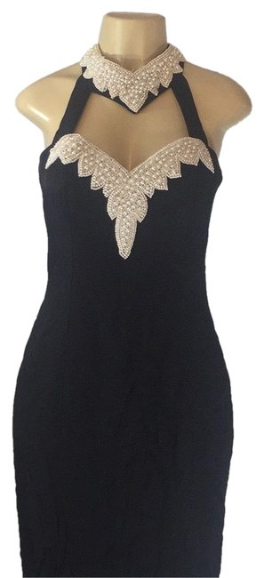 Item - Lack/ Perls Sexy Pearl Embellished Long Cocktail Dress Size 10 (M)