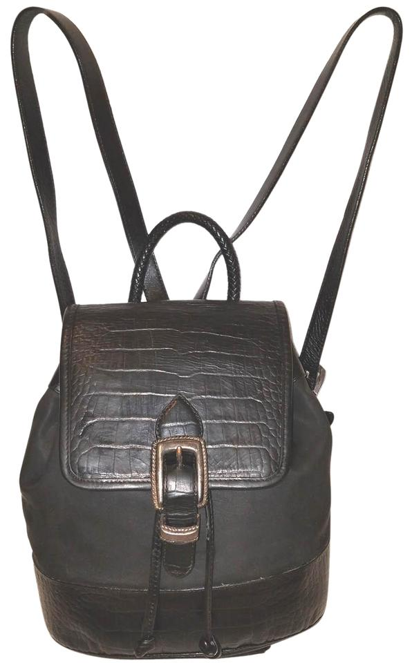 0ab7eec6542 Brighton Black Embossed Leather & Nylon Backpack 73% off retail