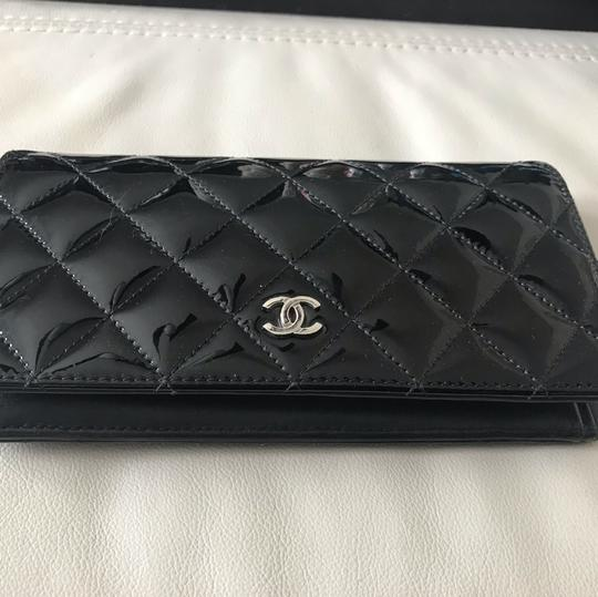 Chanel Black Patent Leather Long Wallet Image 1