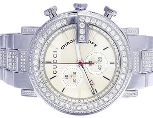 f0cfac6b046 Gucci Gucci 101 G Chrono White 44MM Full Diamond YA101339 7.5 Ct