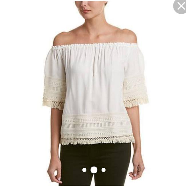 Item - Cream White Lilitta Macram Lace Trim Off Shoulder Blouse Size 4 (S)