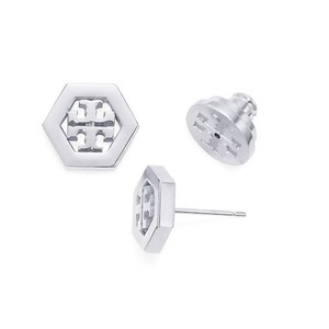Tory Burch New Tory Burch Small Hex-Logo Studs in Silver Hexagon