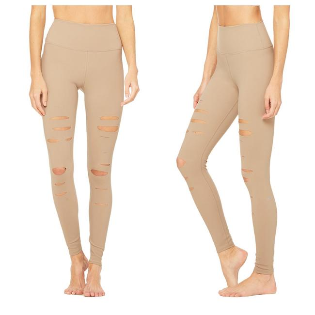 Item - Beige High-waist Ripped Warrior Activewear Bottoms Size 00 (XXS, 24)