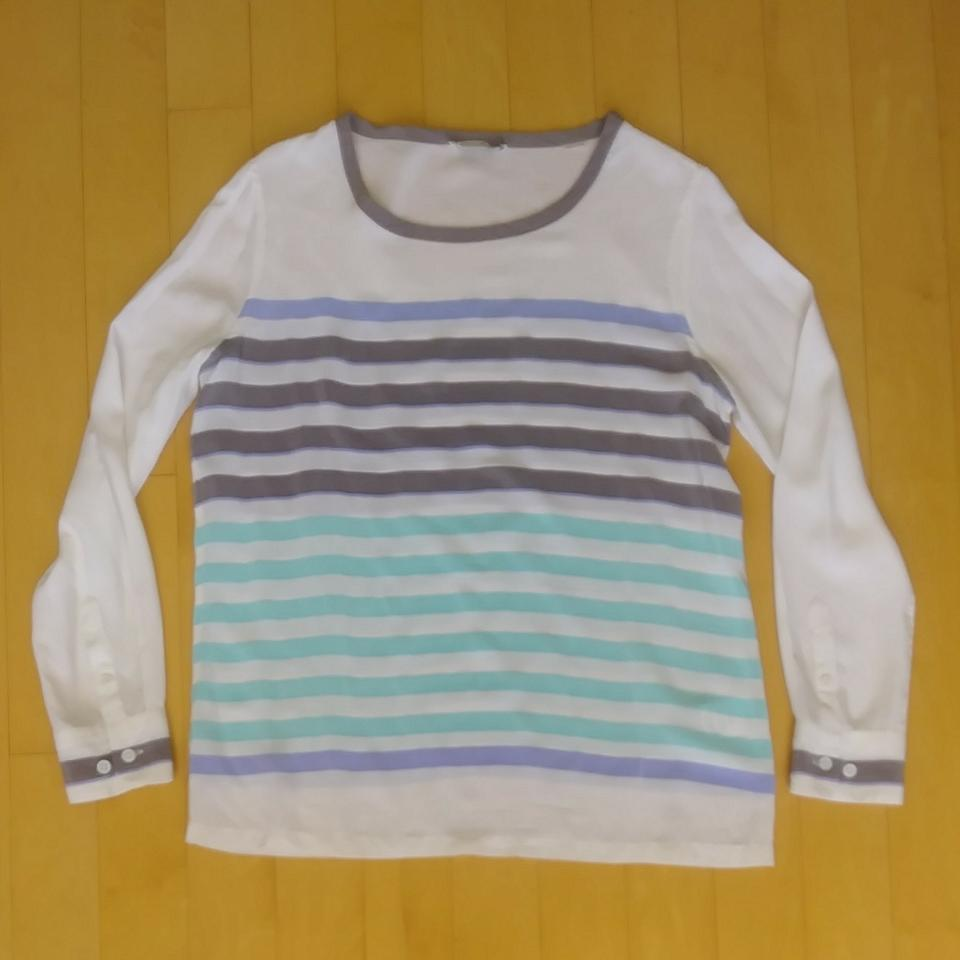25b0a7aab8d040 Equipment White Grey and Blue Liam Striped Silk Blouse Size 8 (M ...