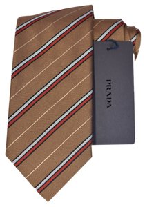 Prada Multicolor New Men's Ucr77 Cravatta Silk Blend Regimental Cammello Neck Tie/Bowtie