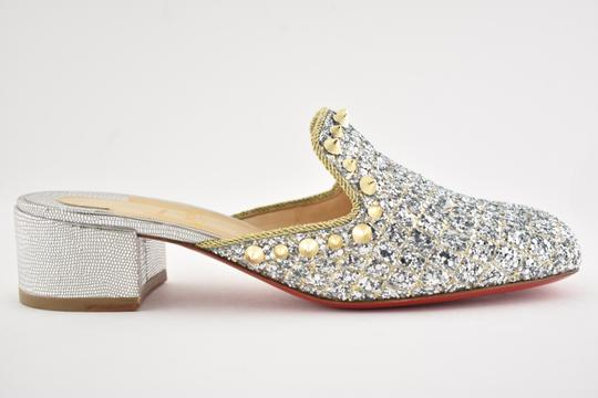 Christian Louboutin Slide Loafer Spike Spiky silver Mules Image 1
