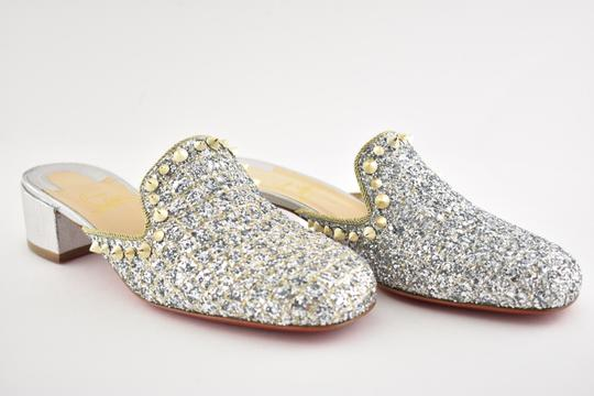 Christian Louboutin Slide Loafer Spike Spiky silver Mules Image 2