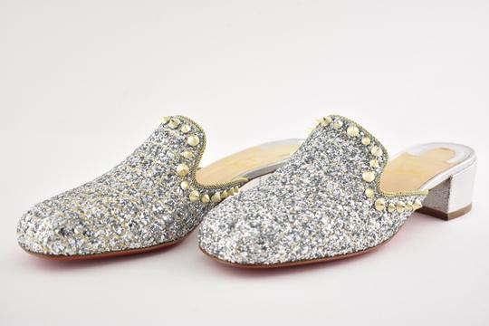 Christian Louboutin Slide Loafer Spike Spiky silver Mules Image 9