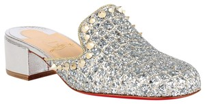 Christian Louboutin Slide Loafer Spike Spiky silver Mules