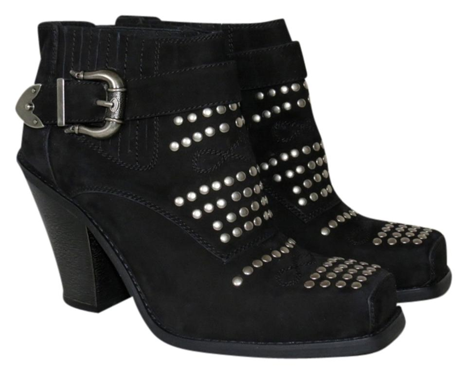 Jeffrey Suede Campbell Black Maxim Studded Suede Jeffrey Western Style Ankle Boots/Booties 8961c1
