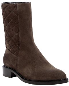 Aquatalia Suede Leather Quilted Midcalf Dark Grey Boots