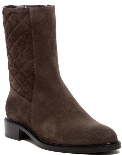 Aquatalia Suede Leather Quilted Midcalf Dark Grey Boots Image 6