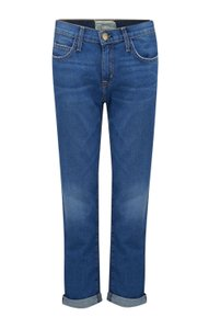 Current/Elliott Straightleg Rolledup Boyfriend Cut Jeans-Medium Wash