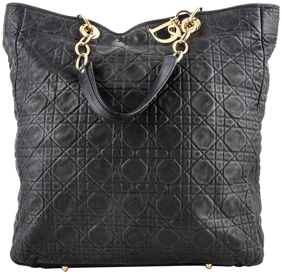 069068166f Dior Bag Christian Cannage Quilted Lambskin Large Black Leather Tote ...