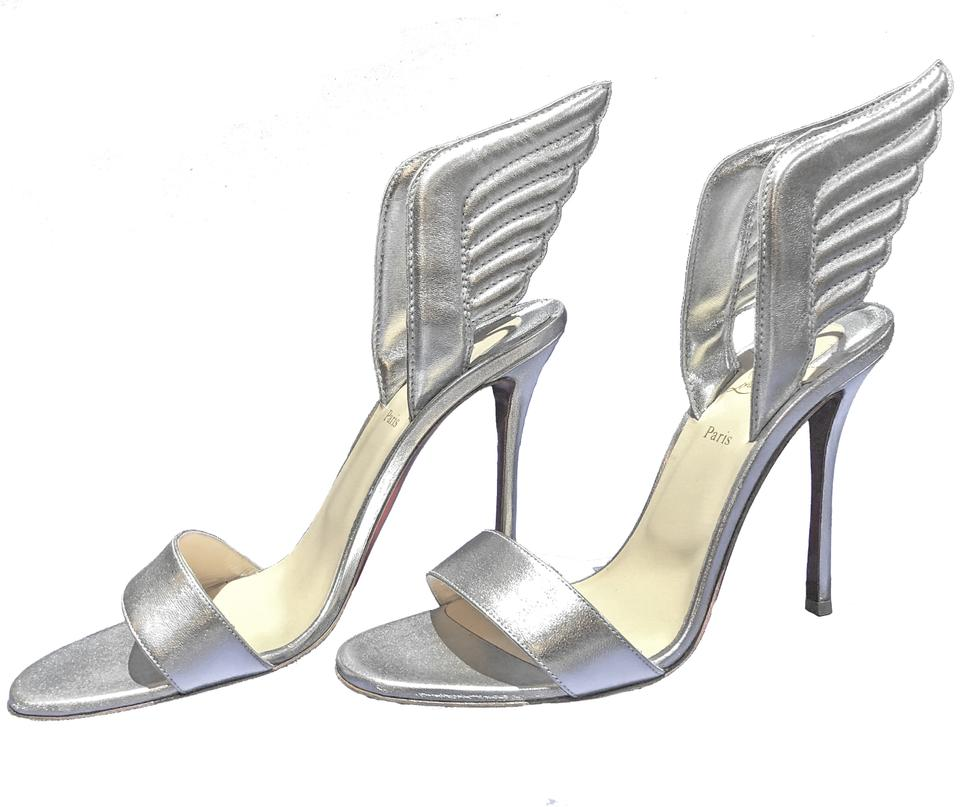a6605c93a8d Christian Louboutin Silver Samotresse 120mm Wing Red Sole Heel Sandals Size  EU 39.5 (Approx. US 9.5) Regular (M, B) 42% off retail