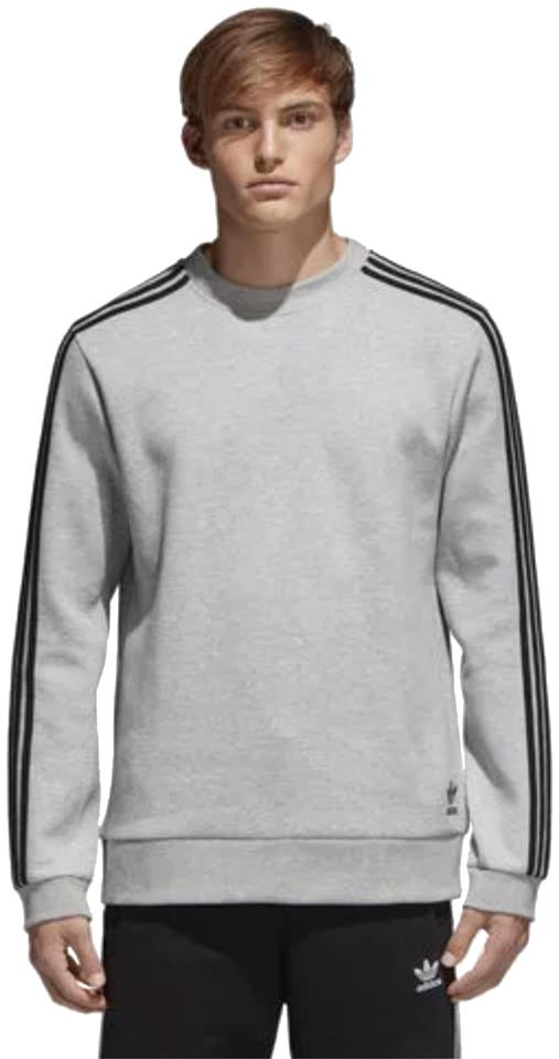 5a901a420 adidas Men s Sweater New Can Be A Women s Oversized Sweater Cotton Gray  with Black Stripe On The Arm Activewear Size 6 (S) 44% off retail