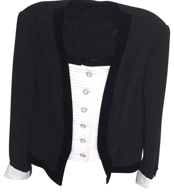 Item - Black with White Cuffs Skirt Suit Size 10 (M)