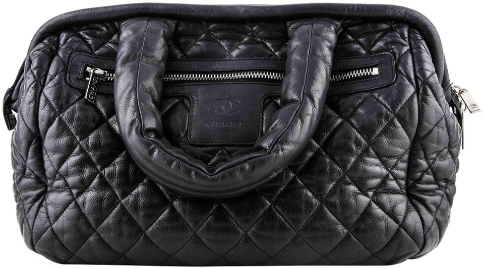 3db88a669a58d4 Chanel Cocoon Coco Bowling Satchel Quilted Black Nylon Shoulder Bag ...