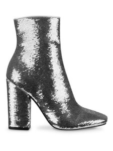 Kendall + Kylie Silver Sequin Ankle Metallic Boots