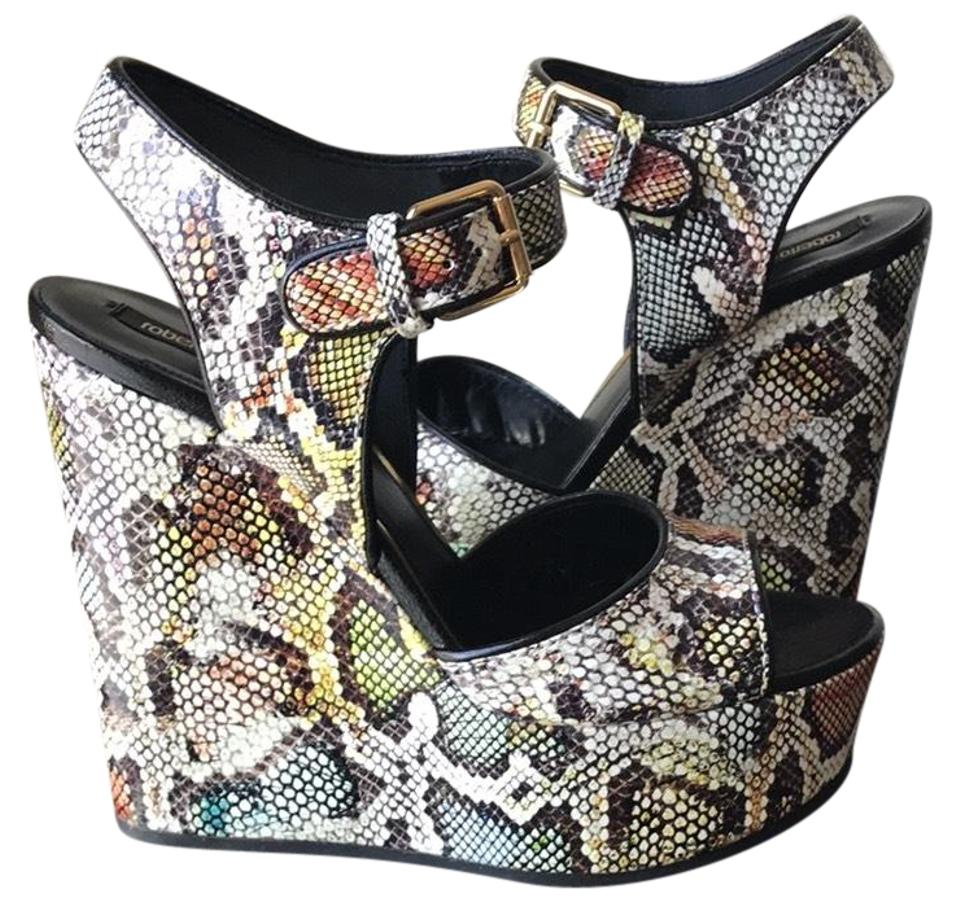 906f95d54f9c Roberto Cavalli Multicolor Python Print Leather Sandals With Wedges ...