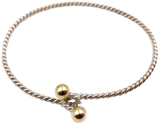 Item - Silver/Gold Twisted Wire Hook and Eye Bracelet