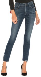 Citizens of Humanity High Rise Studs Spit Ankle Raw Edges Skinny Jeans-Dark Rinse