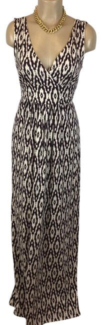 Item - Brown & White Print Long Casual Maxi Dress Size 6 (S)