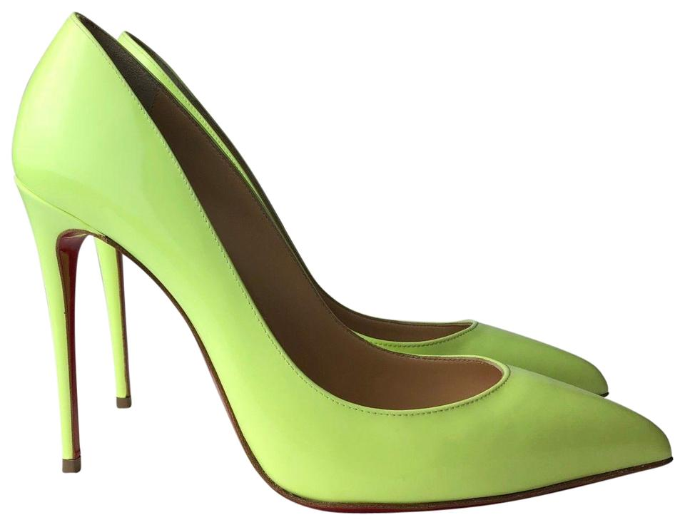 d4b7f815b3a Christian Louboutin Neon Green Pigalle Follies 100 Patent Pumps Size ...