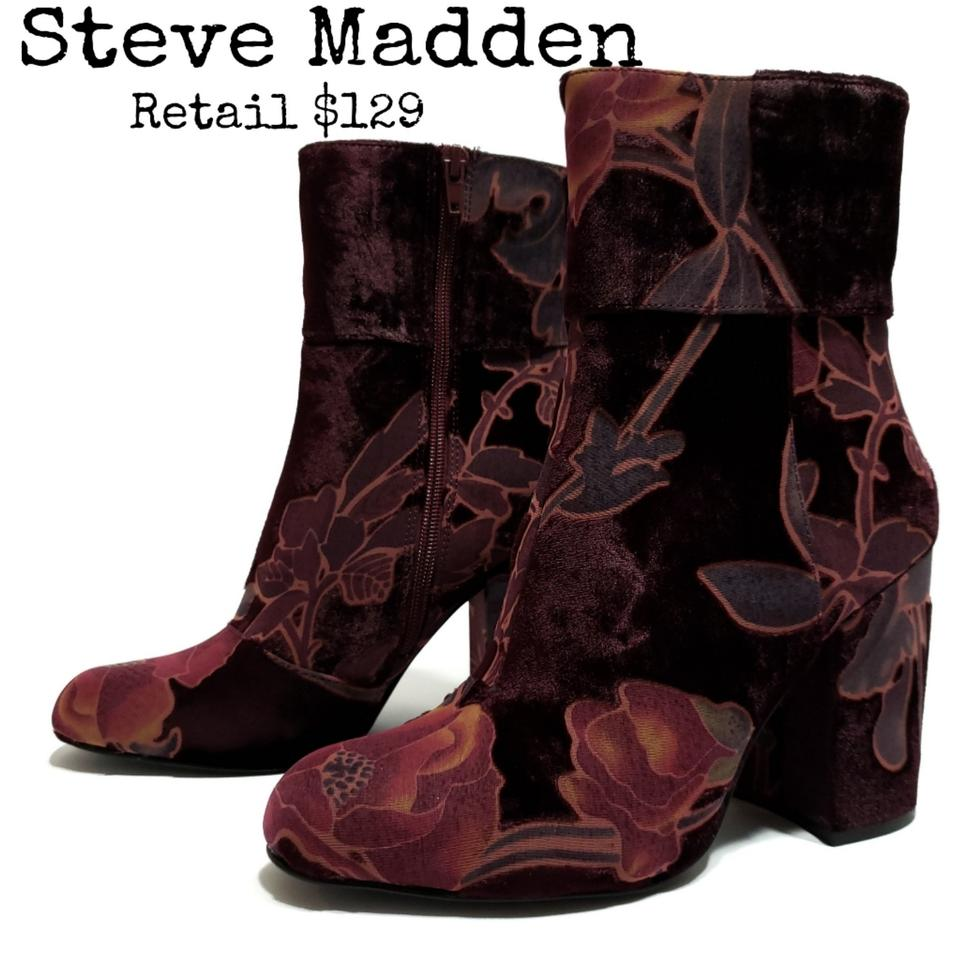 6a6e8acbb71c9 Steve Madden Burgundy Multicolored Goldie Block Heel Mid Boots ...