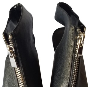 Nine West Black with top silver zipper, and open toes and heels wedge. Wedges