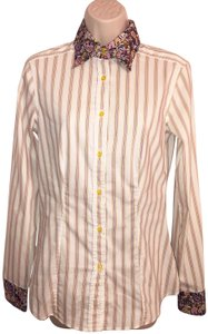 Etro Floral Medium Lightweight Contrasting Striped Top Off-White, Multi-Color
