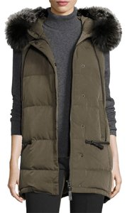 10 Crosby Derek Lam Fox Fur Puffer Winter Coat Hooded Vest