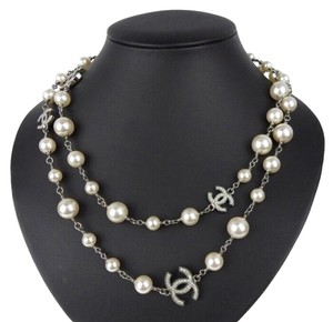 Chanel 2018 Long Pearl Necklace with 5 Rhinestone Crystals CC Logo