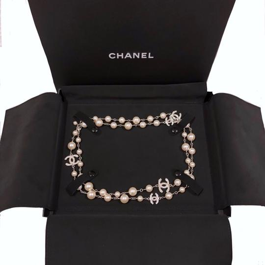 Chanel 2018 Long Pearl Necklace with 5 Rhinestone Crystals CC Logo Image 1