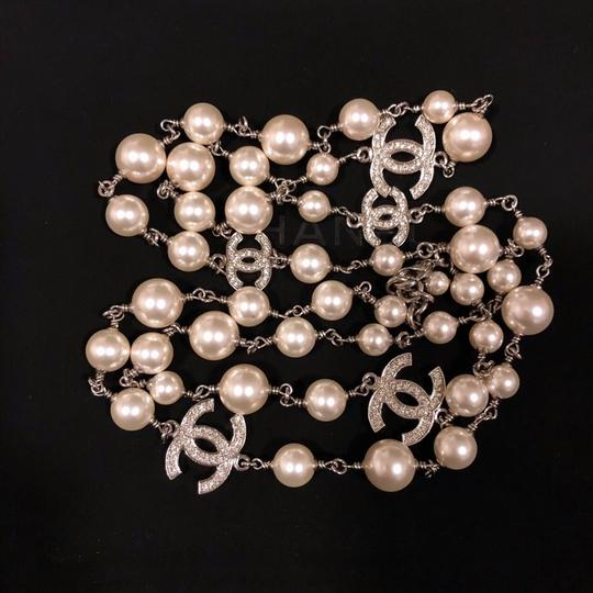Chanel 2018 Long Pearl Necklace with 5 Rhinestone Crystals CC Logo Image 3