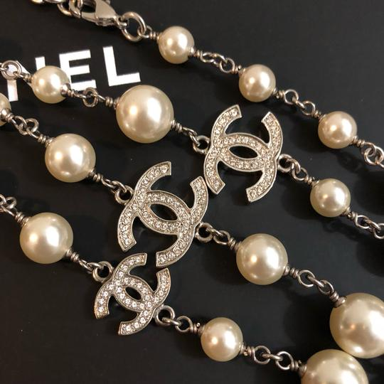 Chanel 2018 Long Pearl Necklace with 5 Rhinestone Crystals CC Logo Image 4