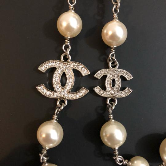 Chanel 2018 Long Pearl Necklace with 5 Rhinestone Crystals CC Logo Image 5