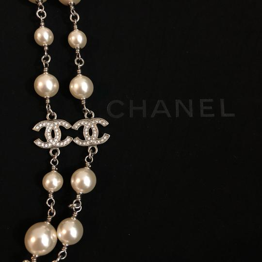 Chanel 2018 Long Pearl Necklace with 5 Rhinestone Crystals CC Logo Image 6