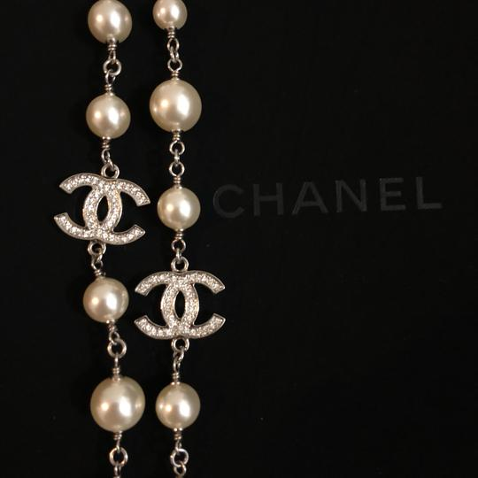 Chanel 2018 Long Pearl Necklace with 5 Rhinestone Crystals CC Logo Image 7